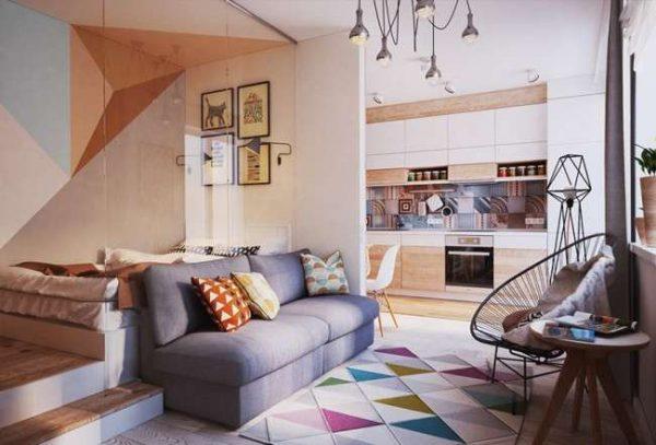 зонирование кухни гостиной в однокомнатной квартире