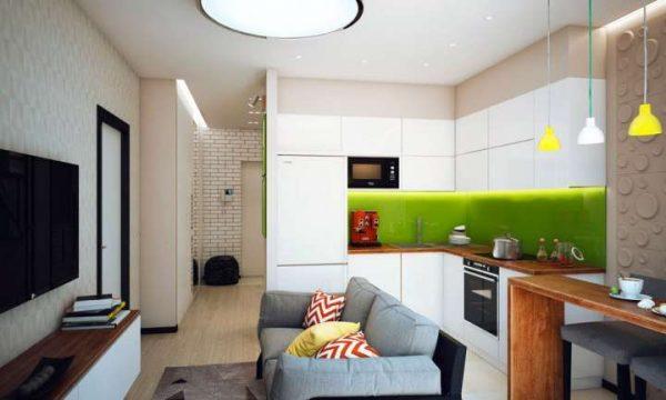 угловая белая кухня в однокомнатной квартире