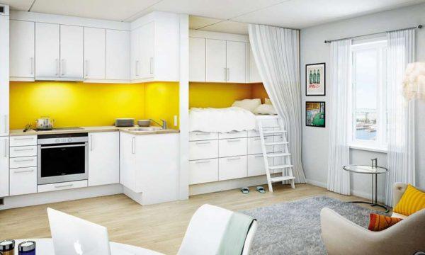 интересное решение спальной зоны на кухне в однокомнатной квартире