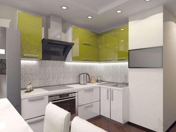 угловой гарнитур на кухне в однокомнатной квартире со столом