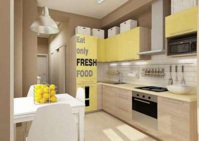 стильные жёлтые фасады кухни в однокомнатной квартире