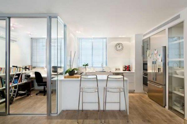 зоны в однокомнатной квартире: кухня, рабочий стол
