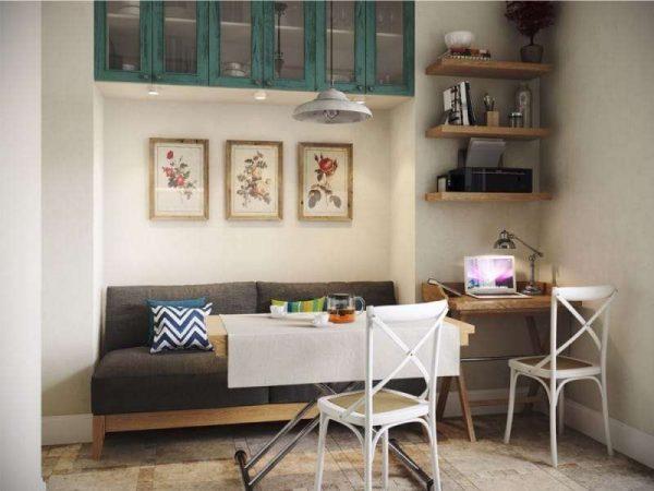 современная классика на кухне в однокомнатной квартире