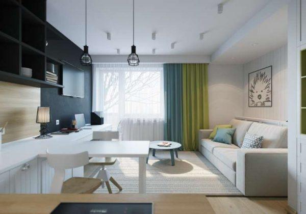 кухня с зоной отдыха в однокомнатной квартире