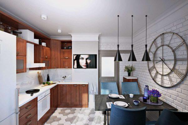 стильный декор на стене кухни в однокомнатной квартире