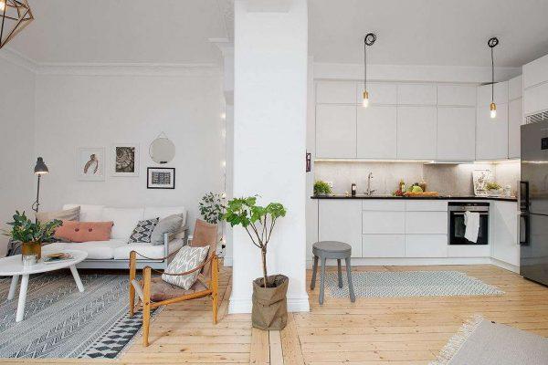скандинавский стиль на кухне в однокомнатной квартире