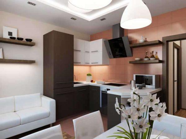 Интерьер кухни в однокомнатной квартире в минималистическом стиле
