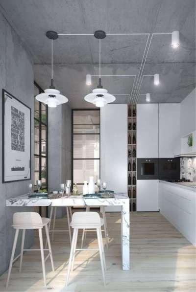 бетон на стенах кухни в стиле хай тек