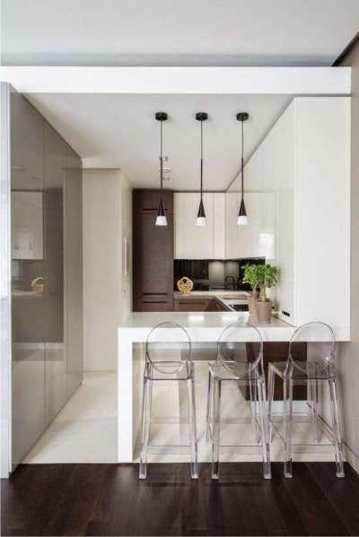 барная стойка в интерьере кухни в стиле хай тек