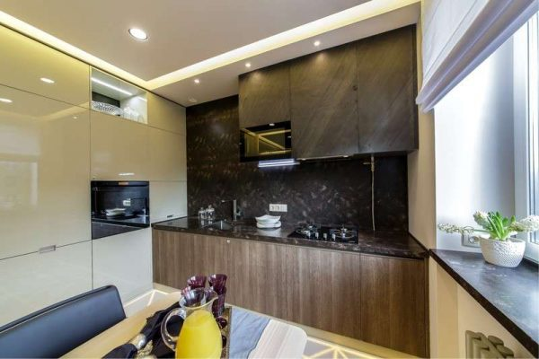 расположение шкафов на кухне в стиле хай тек