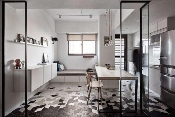 стильные полы из кафеля на кухне в стиле хай тек