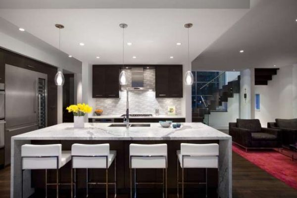 потолок из гипсокартона на кухне модерн