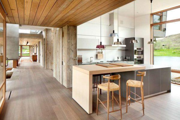 островной стол с рабочей зоной на кухне модерн