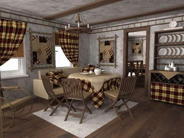 интерьер кухни в стиле шале с текстилем в клетку