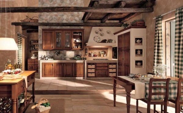 клетчатые шторы на кухне в стиле шале