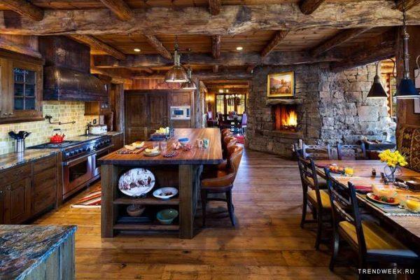 деревянные балки на потолке кухни в стиле шале