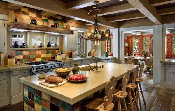 отделка на кухне в стиле шале