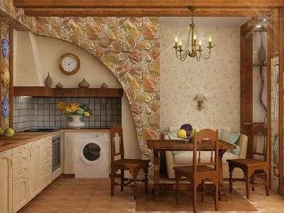 камень на стене кухни в стиле шале