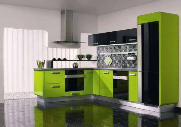 зеленый цвет с белым на кухне