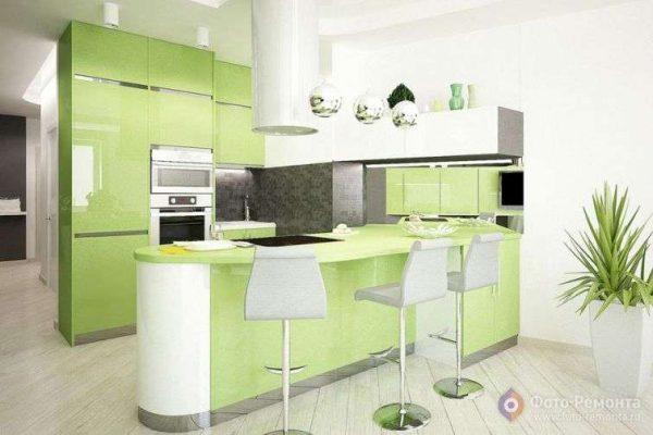 зеленый цвет нижних шкафов на кухне
