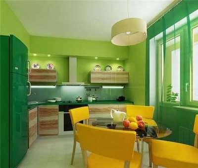 зеленый и жёлтый цвет в интерьере кухни