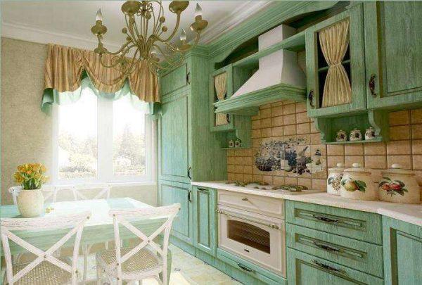 зеленый цвет в интерьере кухни в стиле прованс