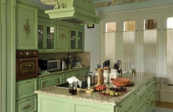 зеленый цвет в интерьере кухни кантри