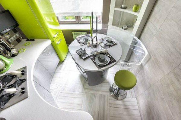 интерьер маленькой кухни в стиле хай тек