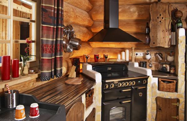 интерьер маленькой кухни в стиле кантри