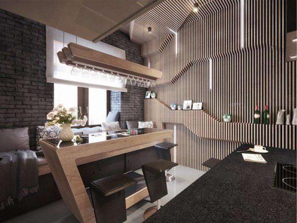 модный стиль на кухне гостиной