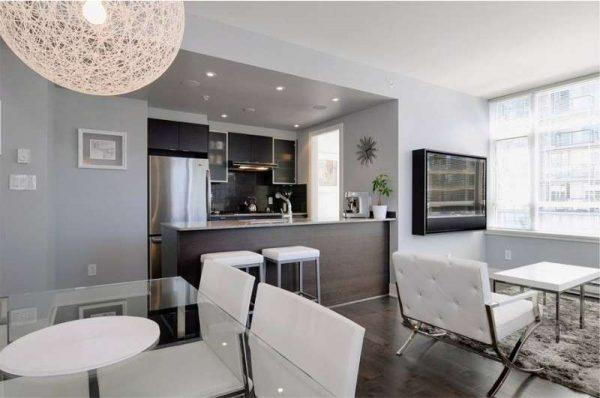 Кухня-гостиная в стиле хай тек