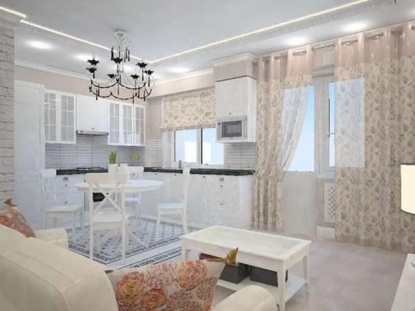 шторы рулонные и классические в интерьере кухни гостиной