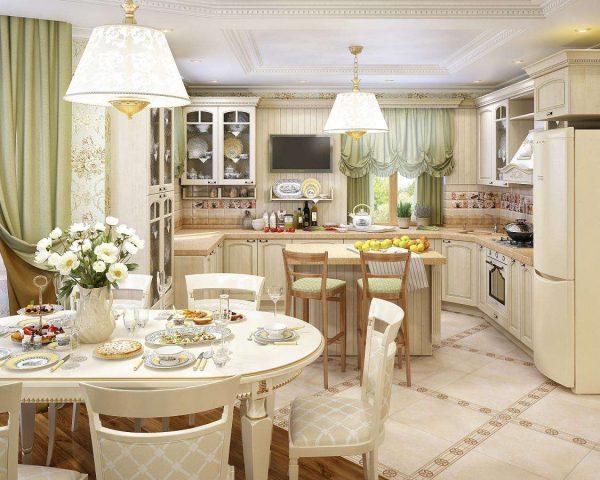 прованс в интерьере кухни гостиной