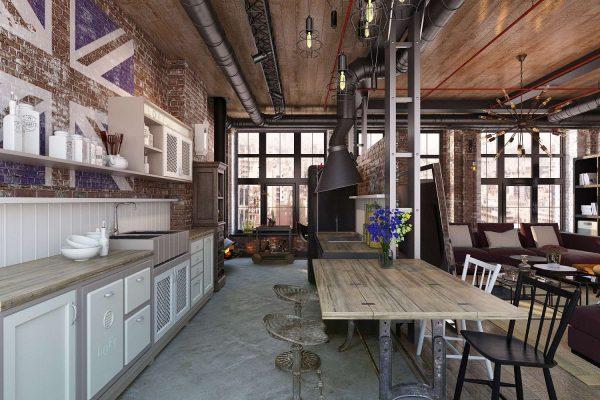 американский стиль на кухне гостиной