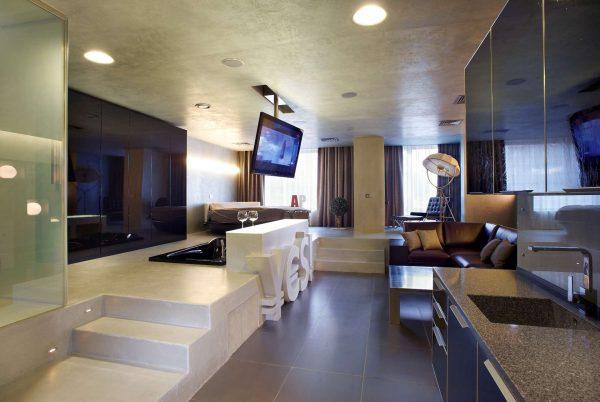 подиумы для зонирования на кухне гостиной