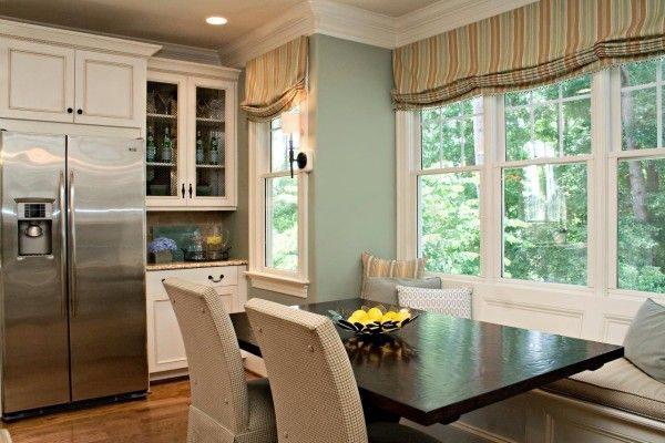 мягкие римские шторы в интерьере кухни