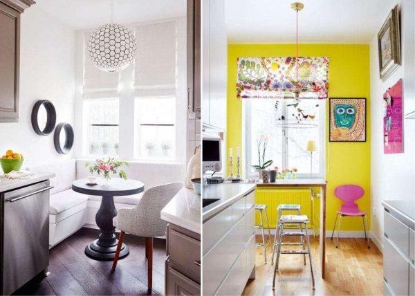 светлые римские шторы на кухне