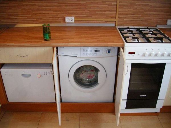 стиральная машина за дверками кухонного гарнитура