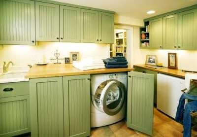 под столешницей стиральная машина в интерьере кухни
