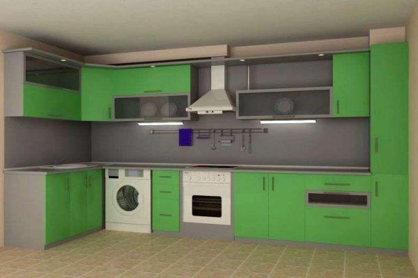 стиральная машина в интерьере зелёной угловой кухни