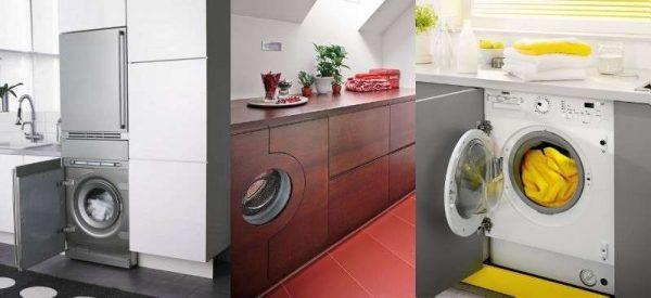 стиральная машина встроенного типа на кухне