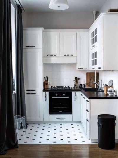 угловой шкаф под мойку в интерьере кухни