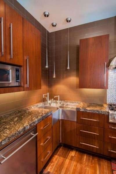 освещение на кухне углового шкафа под мойку