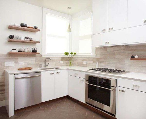угловой шкаф под мойку на кухне в скандинавском стиле