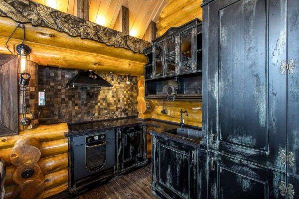 фигурный угловой шкаф под раковину на кухне