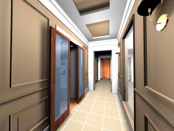 серый цвет в интерьере узкого коридора