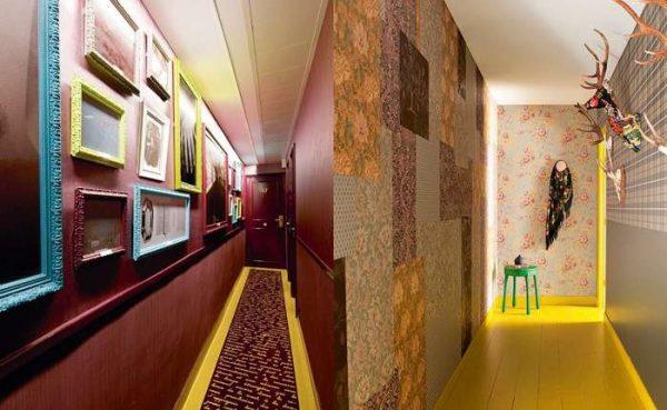 жёлтый пол в интерьере узкого коридора