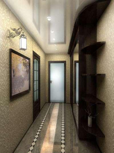 узкий коридор в квартире с натяжным потолком