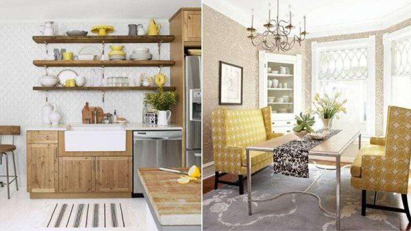 коричневый с жёлтым на кухне