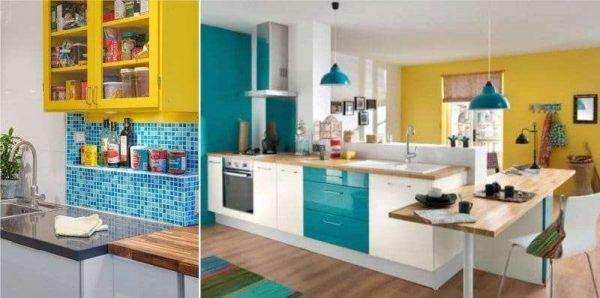 жёлтый с голубым в интерьере кухни